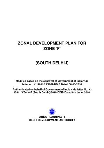 ZONAL DEVELOPMENT PLAN FOR ZONE 'F' (SOUTH ... - RG Plan