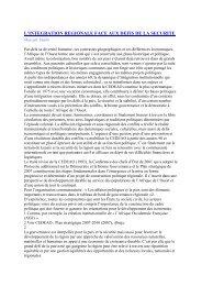 L'INTEGRATION REGIONALE FACE AUX DEFIS DE LA SECURITE