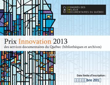 Prix Innovation 2013 - Congrès des milieux documentaires