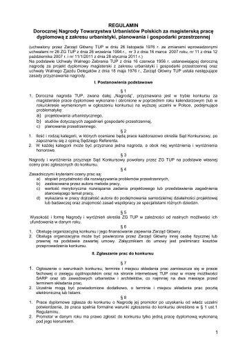 Regulaminem konkursu o nagrody TUP za magisterskie prace