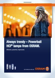 Always trendy – Powerball HCI lamps from OSRAM.