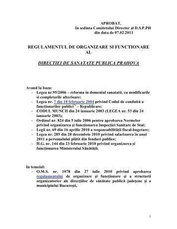 Regulament de Organizare si Functionare al DSPPh - Autoritatea de ...
