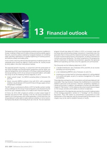 13. Financial outlook (PDF, 59 Kb) - Shareholders and investors - EDF