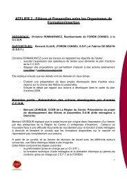 ATELIER 2 : Filières et Passerelles entre les ... - CSEF Mons