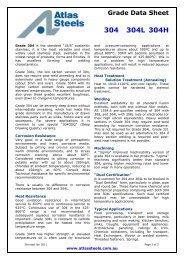 the ...Grade Data Sheet 304 304L 304H - Atlas Steels