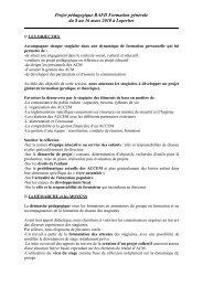 Projet pédagogique BAFD Formation générale du 8 au 16 ... - Ubapar