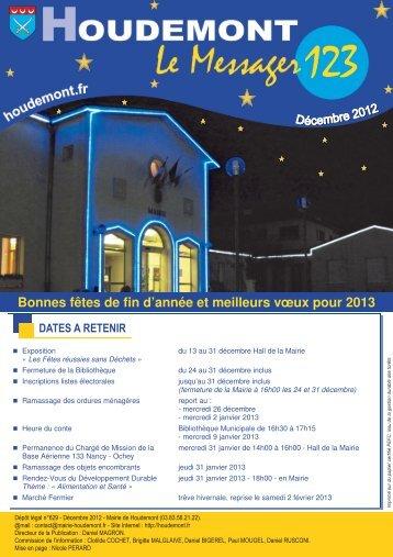 Messager n° 123 décembre 2012 - MAIRIE DE HOUDEMONT
