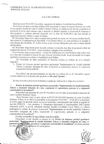 Proces verbal al şedinţei organizată de îndată a ... - Primaria Sulina