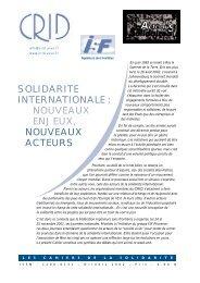 SOLIDARITE INTERNATIONALE : NOUVEAUX ENJEUX ... - Crid
