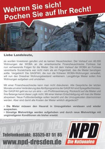 Wehren Sie sich! Pochen Sie auf Ihr Recht! - NPD-Dresden