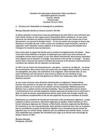 Proces-Verbal de l'AGA 2011 - l'Association félin Canadienne