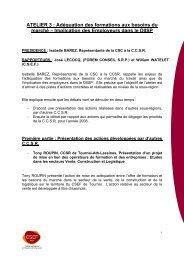 ATELIER 3 : Adéquation des formations aux besoins ... - CSEF Mons