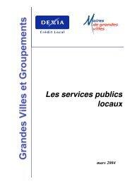 Les services publics locaux - Association des maires de grandes ...