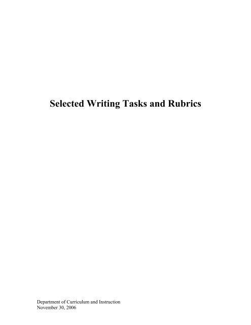 Selected Writing Tasks And Rubrics