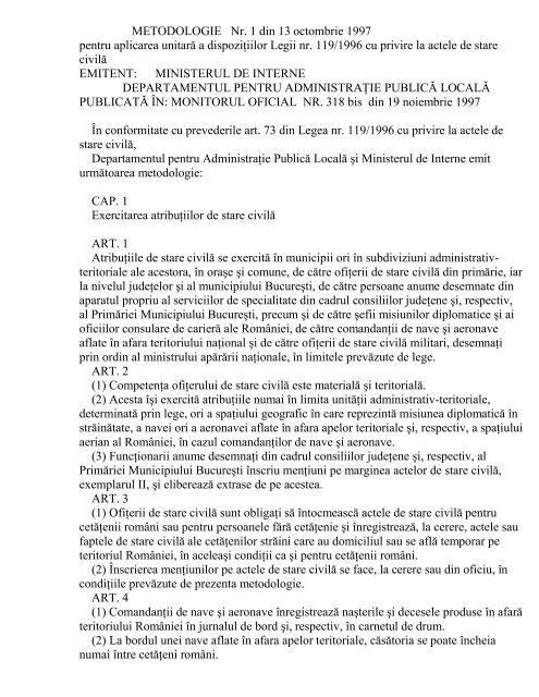 METODOLOGIE Nr. 1 din 13 octombrie 1997 pentru aplicarea ...