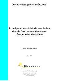 Les matériels de ventilation double flux décentralisée - Enertech