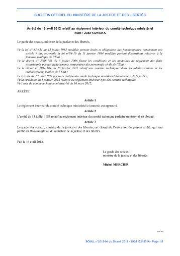 Arrêté du 16 avril 2012 - Justice / Textes et réformes - Ministère de la ...