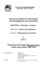 LICENCE SCIENCES SOCIALES, ECONOMIQUES et de GESTION ...