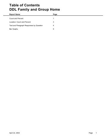 Table of Contents DDL Family and Group Home