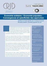 Économie solidaire / Économie populaire : Convergences et ... - Crid