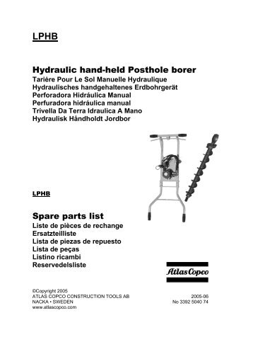 Hydraulic hand-held Posthole borer Spare parts list - Crowder ...