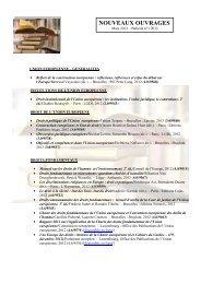 Nouveautés - Mars 2013 - UFR Pluridisciplinaire de Bayonne