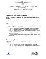 Logros e Indicadores de logro Química Cursos 11 y 12 Bachillerato ...