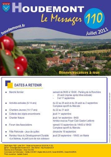 Messager n° 110 juillet 2011 - MAIRIE DE HOUDEMONT