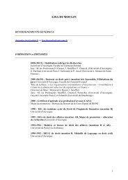C.V. LISA DUMOULIN 2011 - UFR Pluridisciplinaire de Bayonne