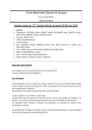 Ecole Maternelle Olympe de Gouges Effectifs 2012/2013 Les travaux