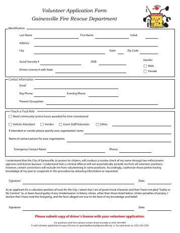 volunteer-application-form-gainesville-fire-rescue-department Volunteer Fire Department Application Forms on volunteer library application, volunteer fire company, fire department job application, volunteer fire recruit,