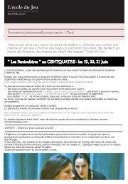 Formation professionnelle pour acteurs / Paris - Ecole du jeu