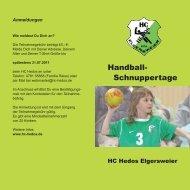 Handball- Schnuppertage - HC Hedos Elgersweier