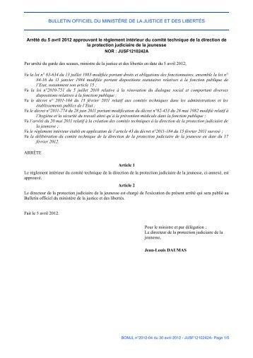 Arrêté du 5 avril 2012 - Justice / Textes et réformes - Ministère de la ...