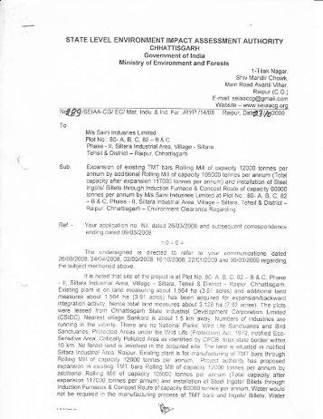M/s. Saini Indusries Limited, Vill - Siltara, Dist. - Raipur ... - Seiaacg.org