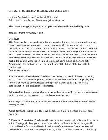 Proposal Essay Ideas Curso Gs Useuropean Relations Since World War Ii Essay With Thesis also Good High School Essay Topics Session  European Histories I Von Hagenbach To World War Ii Persuasive Essay Papers