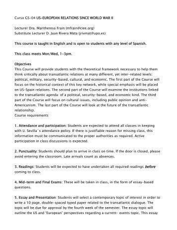 Proposal Example Essay Curso Gs Useuropean Relations Since World War Ii Interesting Essay Topics For High School Students also My English Essay Session  European Histories I Von Hagenbach To World War Ii Businessman Essay