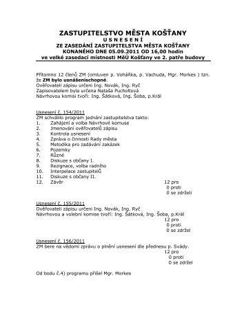 Usnesení z jednání ze dne 05.09.2011 (*.pdf) - Košťany