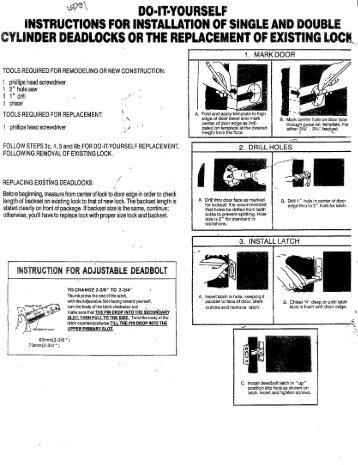Installation Instructions For Hil Interconnected Locks Cal Royal