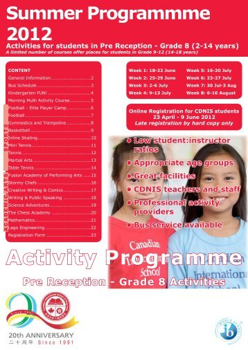 Summer Holiday Programme - Canadian International School of ...