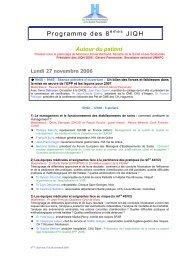 Programme des 8 JIQH - JIQHS