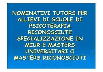 Nominativi tutors per le scuole di Psicoterapia