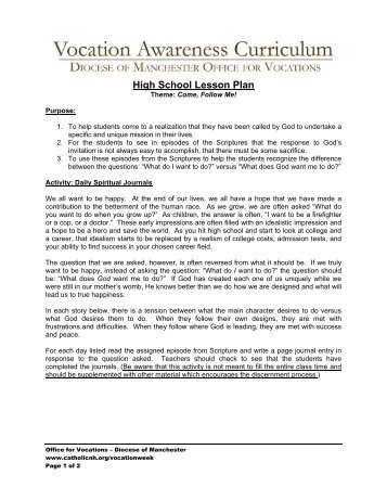 High School Lesson Plan - Diocese of Manchester