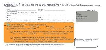 BULLETIN D'ADHESION FILLEUL - Smeno