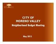 Neighborhood Meeting Presentation - Moreno Valley