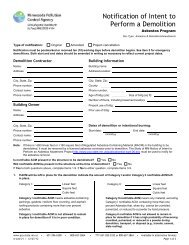 Notification of Intent to Perform a Demolition - Minnesota Pollution ...