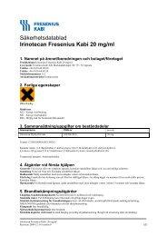 Säkerhetsdatablad Irinotecan Fresenius Kabi 20 mg/ml