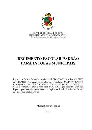 Regimento Escolar padrção para escolas municipais - Governo do ...