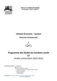 Economie-Gestion - UFR Pluridisciplinaire de Bayonne