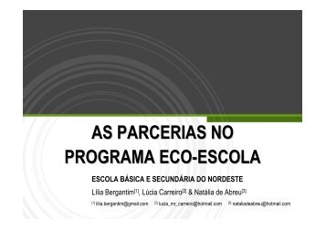 as parcerias no programa eco-escola - Centro Ambiental do Priolo